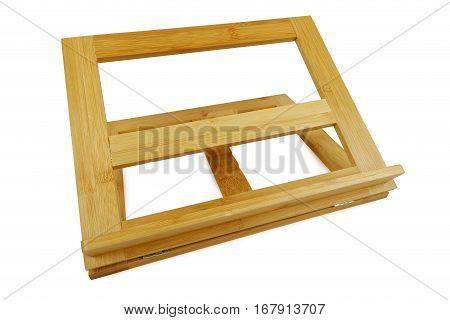wooden rack for kitchen cookbook, studio shot, isolated