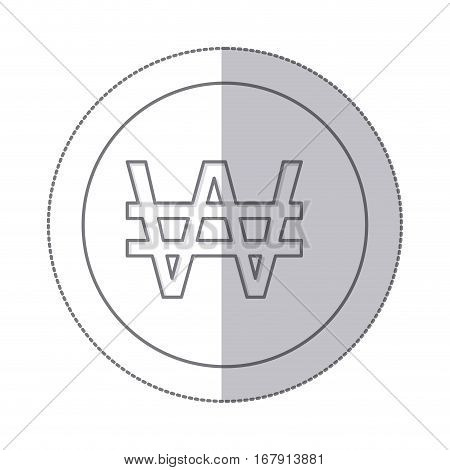 middle shadow monochrome circle with currency symbol of south korea vector illustration