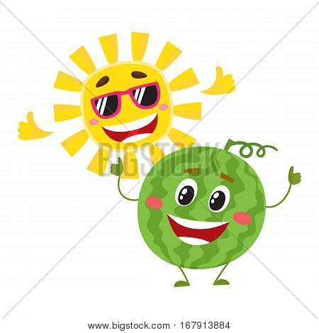 Cute and funny watermelon and sun characters, symbols of hot summer time, cartoon vector illustration isolated on white background. Happy watermelon and sun characters, summer holidays concept