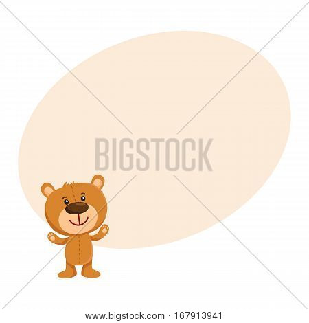 Cute traditional, retro style teddy bear character standing, smiling and greeting, cartoon vector illustration on background with place for text. Smiling teddy bear character greeting, ready to hug