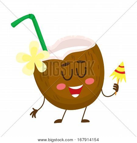 Exotic cocktail in coconut, funny character, summer vacation concept, cartoon vector illustration isolated on white background. Coconut drink, cocktail as a symbol of travelling to tropical country
