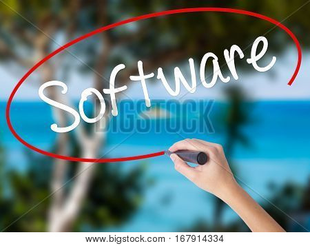 Woman Hand Writing Software  With Black Marker On Visual Screen.
