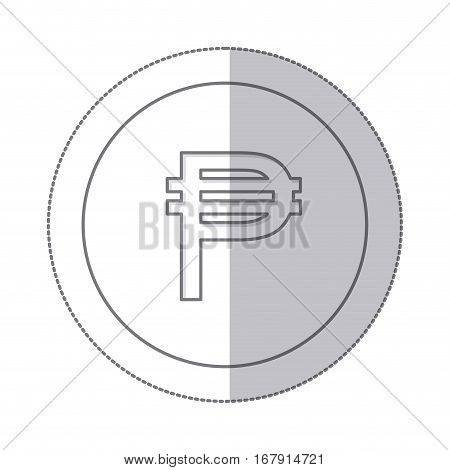 middle shadow monochrome circle with currency symbol of philippine vector illustration