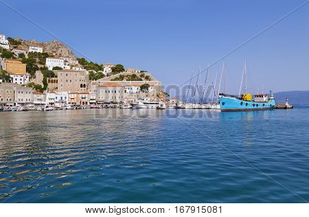 port of Hydra island Saronic Gulf Greece