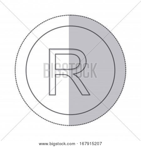 middle shadow monochrome circle with currency symbol of rand south africa vector illustration