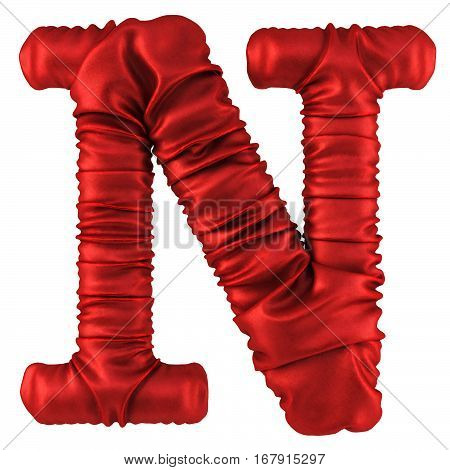 Alphabet made from red fabric. Isolated on white. 3D illustration.
