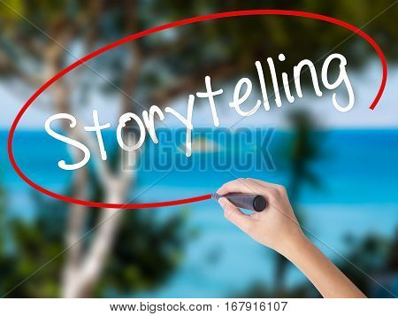 Woman Hand Writing Storytelling With Black Marker On Visual Screen.