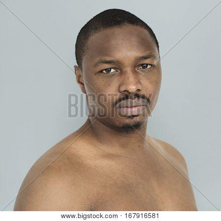 African Descent Man Barechested Studio