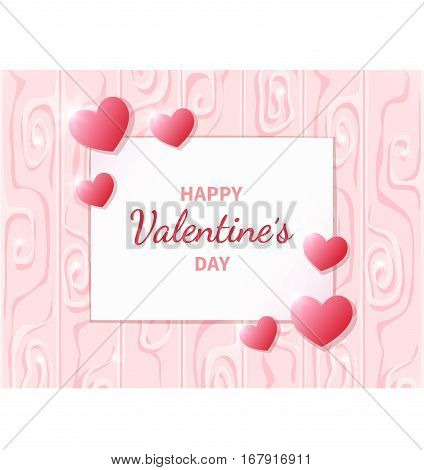 Happy Valentine's Day. Greeting card with hearts on the abstract background. Lettering in the middle. Festive romantic love illustration. Vector.