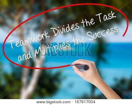 Woman Hand Writing Teamwork Divides The Task And Multiplies The Success With Black Marker On Visual