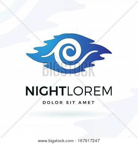 Blue night vector design element. Modern wave shape symbol logo concept. Moon in clouds illustration on white background