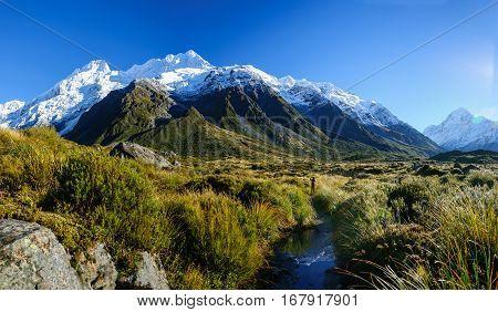 Hooker Valley Track,mount Cook, New Zealand.