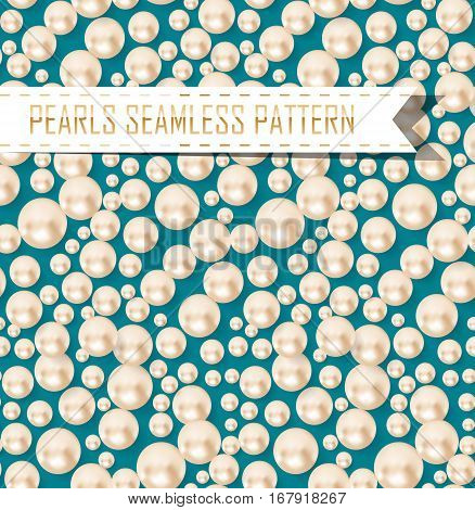 vector seamless pattern of pearls girly pattern