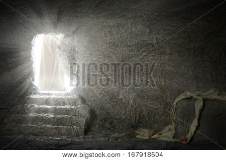 Jesus leaving empty tomb while light shines from the outside
