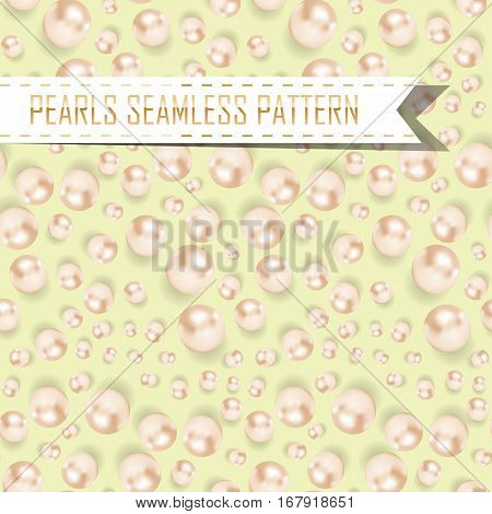 Vector Pearls Seamless Pattern On Color Background