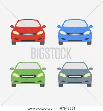Cars different colors icon isolated cartoon vector stock