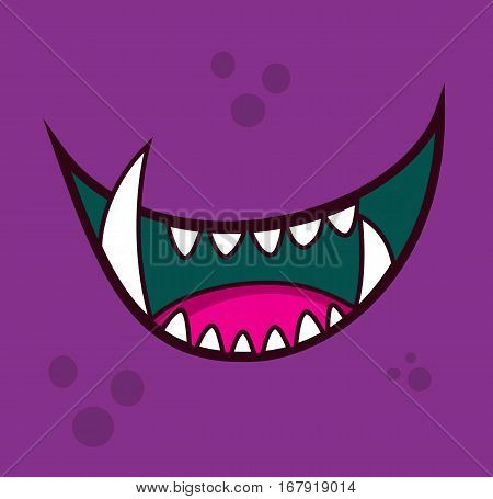 Monster open mouth face teeth cartoon avatar illustration vector stock
