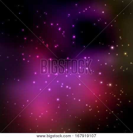 Abstract vector background with night sky and stars. Illustration of outer space.