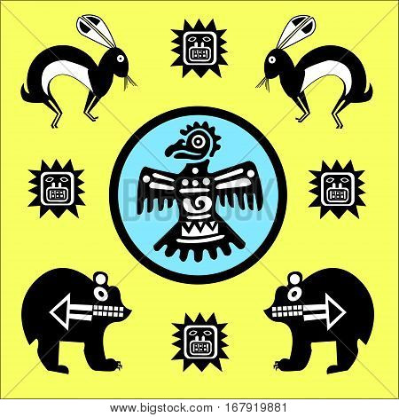 Ethnic patterns of Native Americans: the Aztec, Inca, Maya, Alaska Indians (Mexico, Ecuador, Peru). Drawing in the Mexican style. Raven (or Eagle), bear and rabbit. Vector illustration.