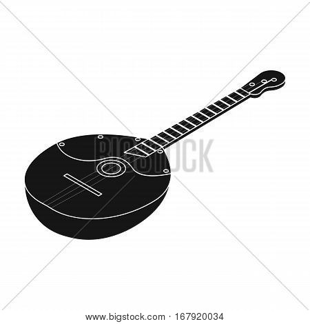 Domra icon in black design isolated on white background. Musical instruments symbol stock vector illustration.