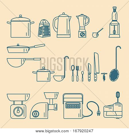 Kitchenware. Appliances and utensils Vector illustration
