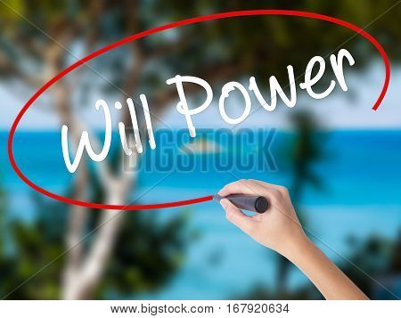 Woman Hand Writing Will Power With Black Marker On Visual Screen
