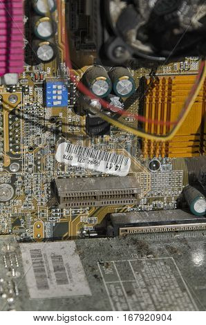 View of the circuit chips of a computer