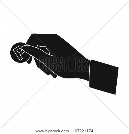 Hand holding coin for parking meter icon in black design isolated on white background. Parking zone symbol stock vector illustration.
