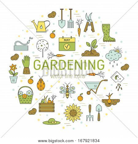 Vector line icons collections made in minimalist modern style. Flower and gardening. Tools and materials for working in garden.