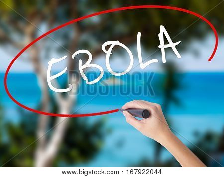 Woman Hand Writing Ebola With Black Marker On Visual Screen