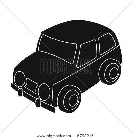 Car icon in black design isolated on white background. Parking zone symbol stock vector illustration.