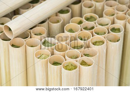 Vietnamese Food Com Lam, The Rice, Often Glutinous Rice, Cooked In A Tube Of Bamboo, Served With Sal