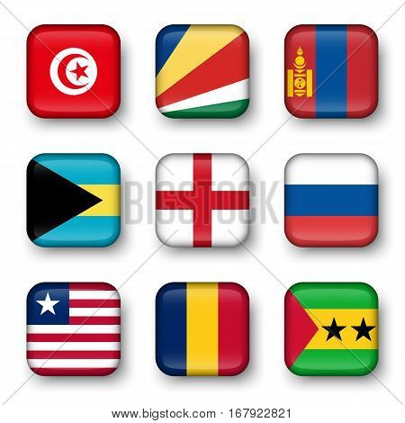 Set of world flags quadrangular badges ( Tunisia . Seychelles . Mongolia . Bahamas . England . Russia . Liberia . Chad . Sao Tome and Principe )
