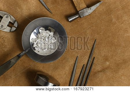 Tools Of Jewellery. Jewelry Workplace On Leather Background. Top View.