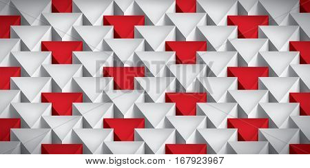Realistic texture, volume triangles, gray geometric pattern with red accents, vector design 3d wallpaper