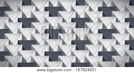 Realistic texture, volume triangles, gray geometric pattern with dark accents, vector design 3d wallpaper