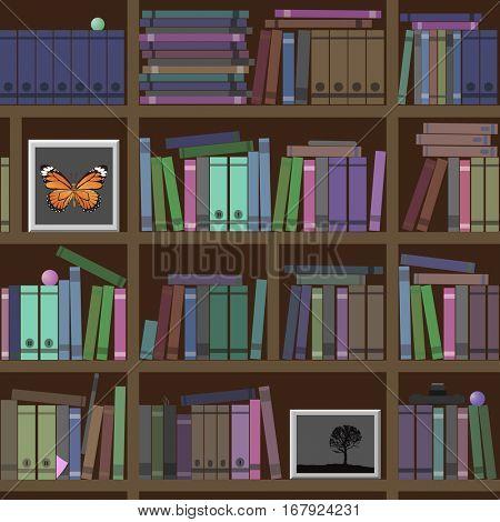 Bookshelves. A lot of interesting books. Vector illustration