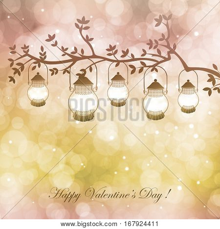 Vector  illustration with lamps and branch on  background with bokeh and light. Happy Valentines Day Card Design. 14 February. Postcard Valentine's Day.