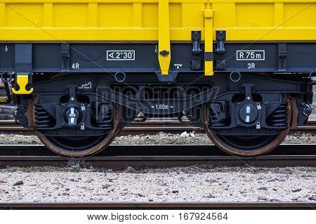 Burgas Bulgaria - January 27 2017 - Wheels- 4-axled flat wagon Type:Res Model:072-2 - Transvagon AD