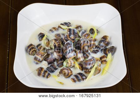 Coconut Escargot, The Famous Snail Food In Mekong Delta, South Of Vietnam