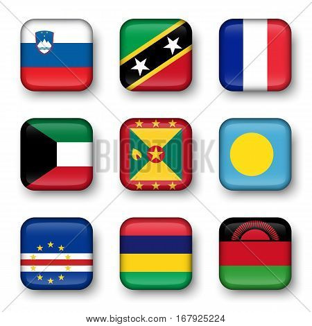 Set of world flags quadrangular badges ( Slovenia . Saint Kitts and Nevis . France . Kuwait . Grenada . Palau . Cape Verde . Mauritius . Malawi ) poster