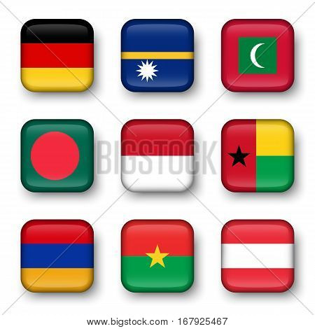 Set of world flags quadrangular badges ( Germany . Nauru . Maldives . Bangladesh . Indonesia . Guinea-Bissau . Armenia . Burkina Faso . Austria )