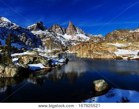 Hike to beautiful  Minaret Lake, Ansel Adams Wilderness, Sierra Nevada, California,USA.Autumn season.