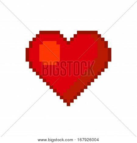Red Heart. Pixel Art Style. Vector illustration