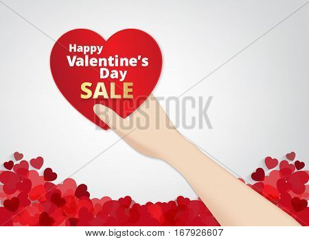 hand hold the heart label on heart footer background and sale text . Vector paper illustration.