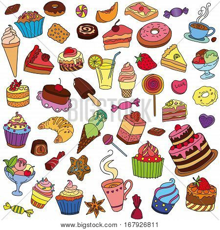 Vector set of different sweets. Sweets icon. Sweets logo.