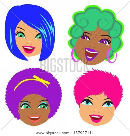 HAPPY CHARACTER FACES CARTOON WITH NEON COLORS. Set of four cartoon portraits. Editable vector illustration file.