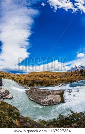 Chile, Patagonia, Paine Cascades. Rocky ledges Paine river forms a cascading waterfalls. Torres del Paine National Park - Biosphere Reserve
