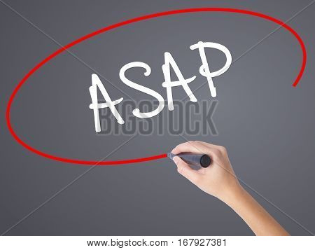 Woman Hand Writing Asap  With Black Marker On Visual Screen