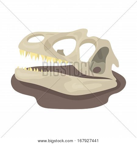 Dinosaur fossils icon in cartoon design isolated on white background. Dinosaurs and prehistoric symbol stock vector illustration.